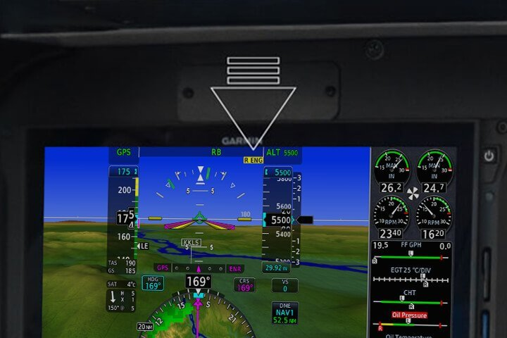 A yellow annunciator for the associated inoperative engine is conveniently displayed on the Garmin G500 TXi or G600 TXi flight display.